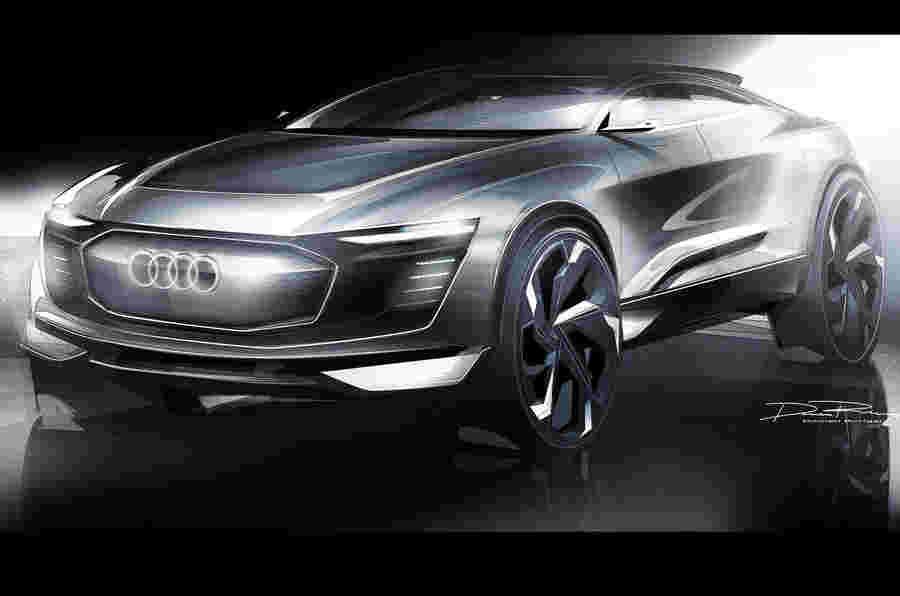 在新的草图中预览的未来派奥迪e-tron概念